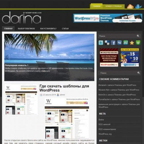 Бесплатный шаблон WordPress Darina