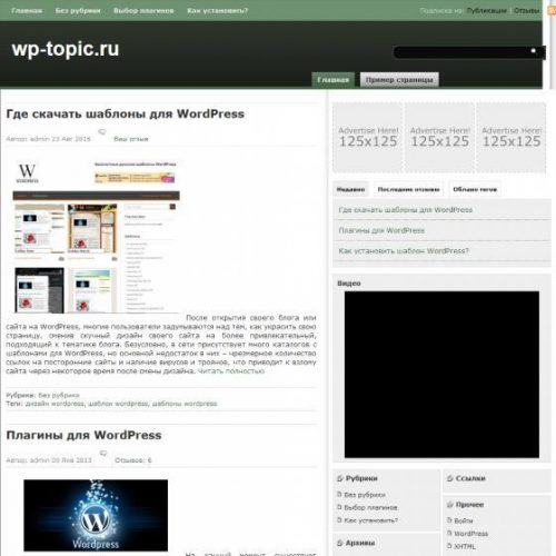 Бесплатный шаблон WordPress Green Blitz