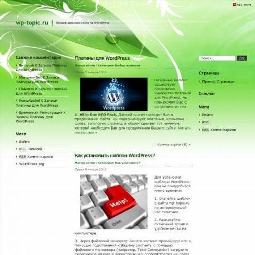 Бесплатный шаблон WordPress Green Relax