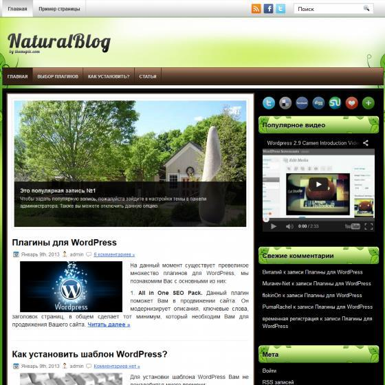 Бесплатный шаблон Wordpress NaturalBlog