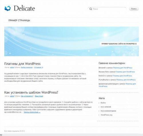Бесплатный шаблон WordPress Delicate