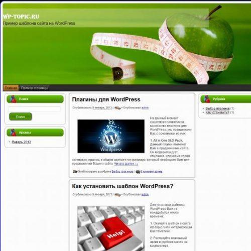 Бесплатный шаблон WordPress Diet Apple