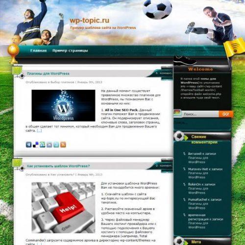 Бесплатный шаблон WordPress Football World