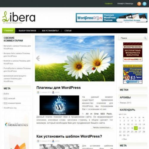 Бесплатный шаблон WordPress Libera