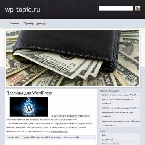 Бесплатный шаблон WordPress Money Tint