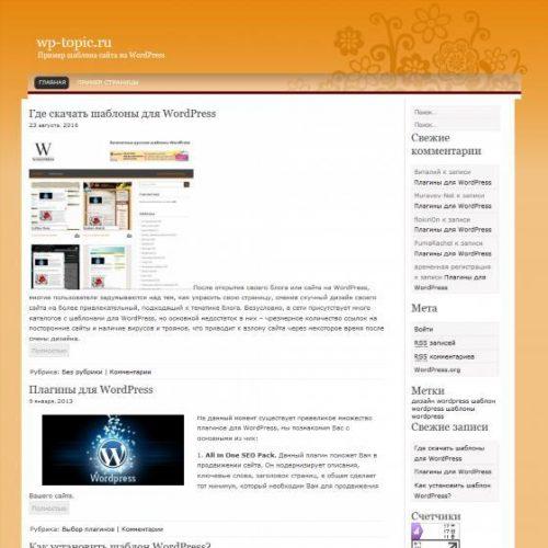 Бесплатный шаблон WordPress OrangeFlowers