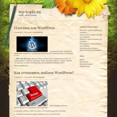 Бесплатный шаблон WordPress Outdoorsy