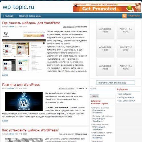 Бесплатный шаблон WordPress PassionDuo Blue