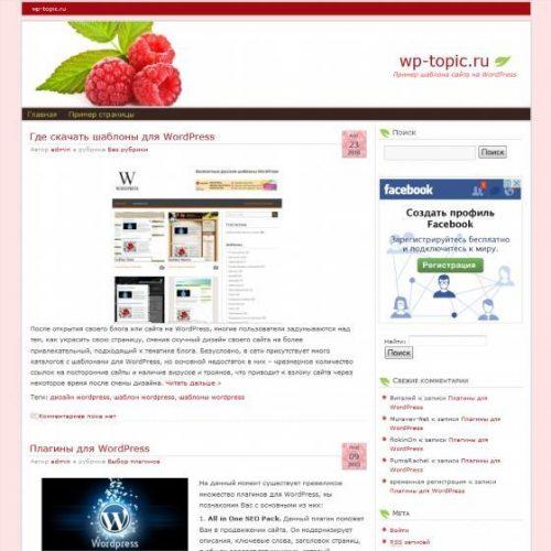 Бесплатный шаблон WordPress Raspberry Cafe