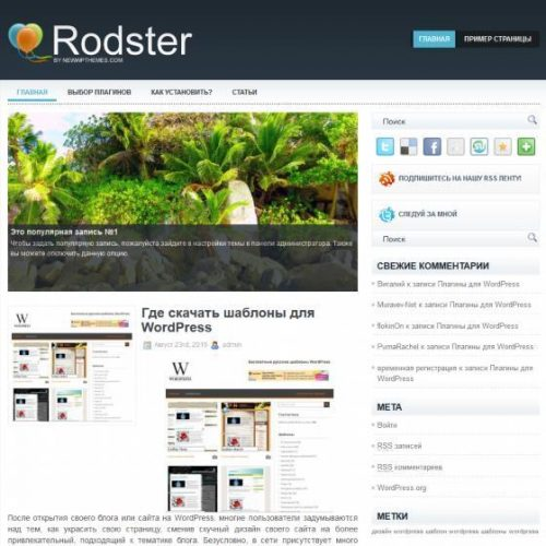 Бесплатный шаблон WordPress Rodster