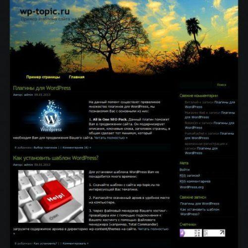 Бесплатный шаблон WordPress Shunie Blue