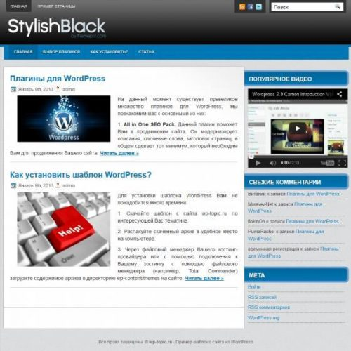 Бесплатный шаблон WordPress Stylish Black